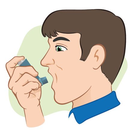 Illustration of a person using inhaler for asthma and lack and public areas. Ideal for catalogs and informative medical guides