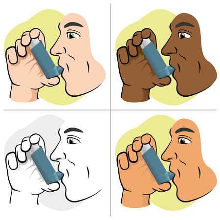 asthma inhaler: Illustration of a person using inhaler for asthma and lack and public areas. Ideal for catalogs and informative medical guides