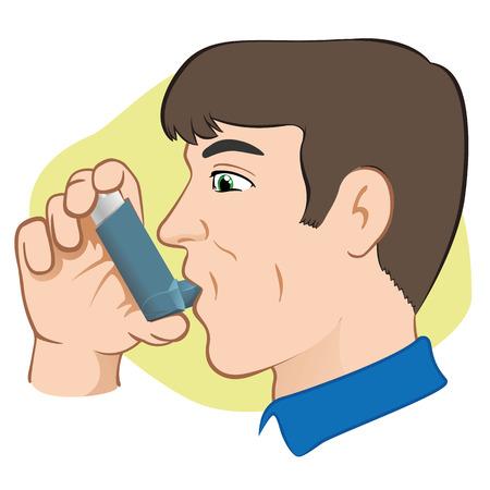 Illustratie van een persoon met behulp van inhalator voor astma en gebrek en openbare ruimtes. Ideaal voor catalogi en informatieve medische gidsen Stock Illustratie