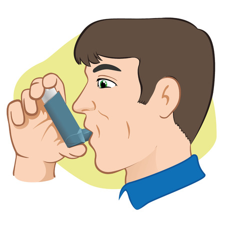 Illustration of a person using inhaler for asthma and lack and public areas. Ideal for catalogs and informative medical guides Vector