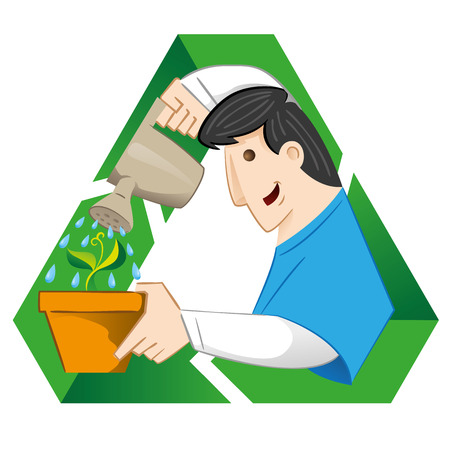 crocket: Illustration representing a person one watering pot with plant on the recycling symbol. Ideal for informative catalogs and recycling guides