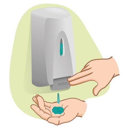 Illustration d'une personne faisant l'hygiène des mains avec un produit de nettoyage. Idéal pour les catalogues de pridutos et information sur l'hygiène