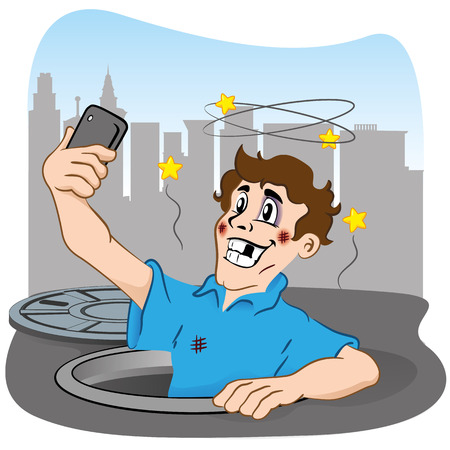 Illustration depicting person photographing selfie after falling in the hole. Ideal for institutional materials and communications Vector