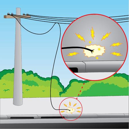 Illustration, die Stromnetz mit Problemen freiliegende Drähte und gebrochene Ideal für Berufsbildung Bildungsmaterialien und institutionellen Standard-Bild - 41033258