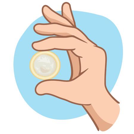 educacion sexual: Este es el final de una mano sosteniendo un diseño ideal de preservativos para las campañas de educación sexual