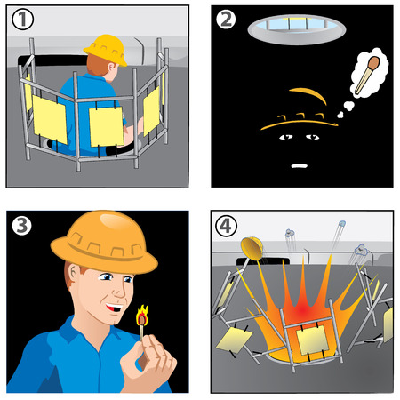 safety at work: Illustration depicting history in comic work safety Ideal for training and institutional educational material.
