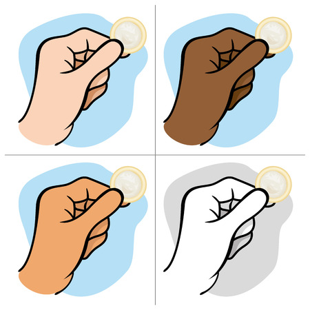hiv aids: This is the close of a hand holding a condom ideal design for sexuality education campaigns
