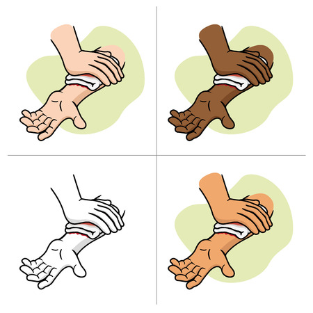 Illustration of an arm receiving first aid injury compression arm. Ideal for medical supplies and educational institutional.