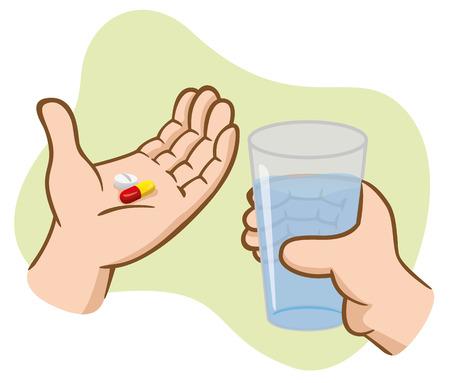 medicina: Ilustración manos de primeros auxilios que sostienen píldoras de la medicina con un vaso de agua. Ideal para catálogos, informativos y guías médicas