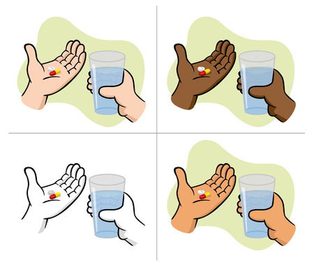 fluency: Illustration First Aid hands holding medicine pills with glass of water, ethnicity. Ideal for catalogs, informative and medical guides