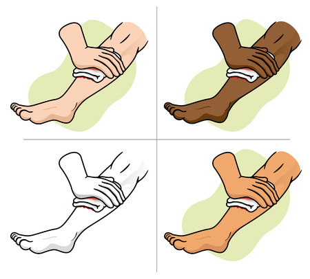 primeros auxilios: Ilustración de una pierna recibir lesión en la pierna primera compresión de la ayuda. Ideal para suministros médicos educativa e institucional Vectores