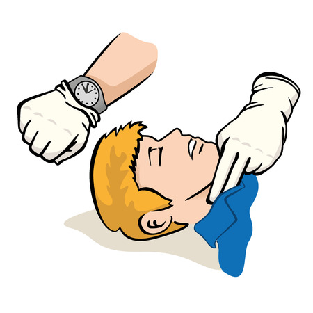 First Aid illustration person measuring the pulse Carotid artery with clock. Ideal for catalogs, informative and medical guides