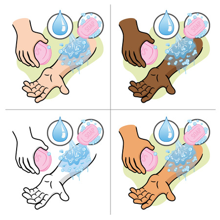 Illustration First Aid person arm wash soap and water. Ideal for catalogs, informative and medical guides 일러스트