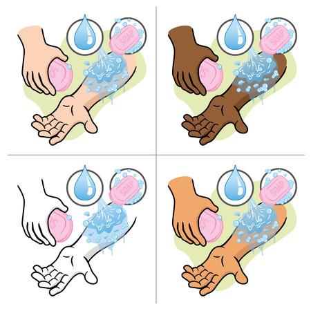 splint: Ilustración brazo persona Primeros Auxilios lavar agua y jabón. Ideal para catálogos, informativos y guías médicas