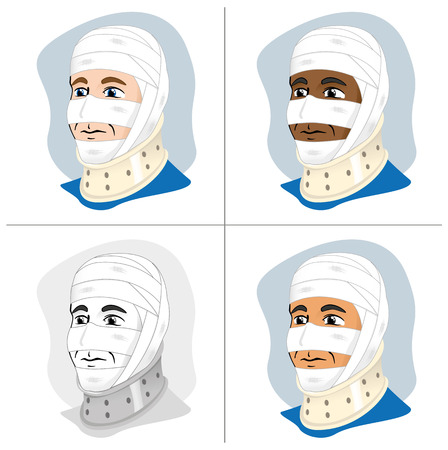 immobilize: Illustration of a human head with bandages and enfeixada cervical collar to immobilize using the neck
