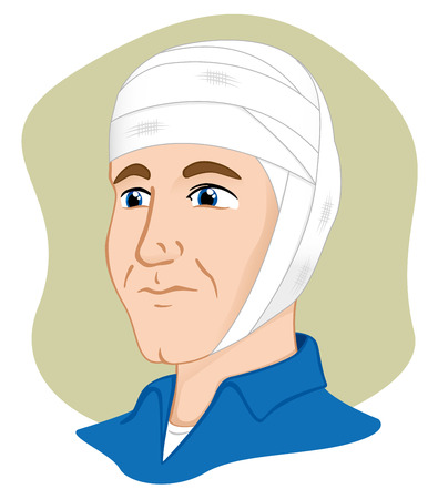 bandages: Illustration of a human head with bandages