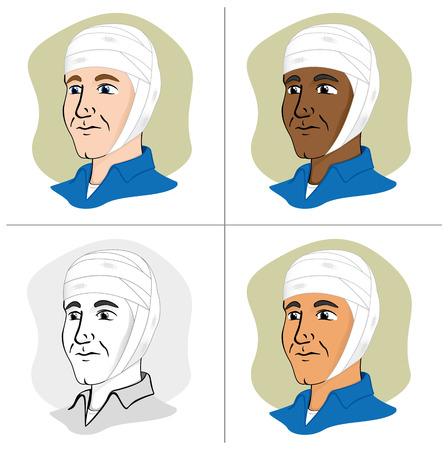 bundling: Illustration of a human head with bandages