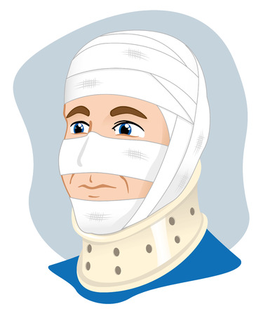 bundling: Illustration of a human head with bandages and enfeixada cervical collar to immobilize using the neck