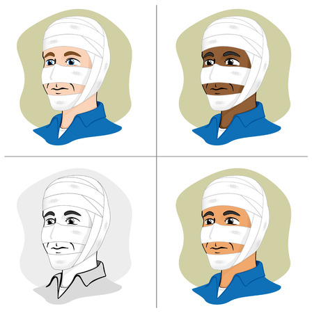 tip style design: Illustration of a human head with bandages