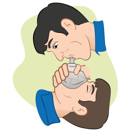 呼吸を助けるポケット マスクの助けを借りて復活する呼吸の阻止を持つ人のイラスト。医薬品制度や教育に最適