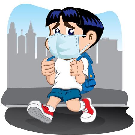 Illustration ein Student Kind mit Atembeschwerden aufgrund Masken vertreten. Ideal für Roh- medizinischen Institutionen und Bildungs Standard-Bild - 41238558