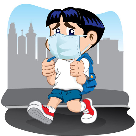 mascara de gas: Ilustración que representa a un niño estudiante con problemas respiratorios debido máscaras. Ideal para prima médica institucional y educativa Vectores