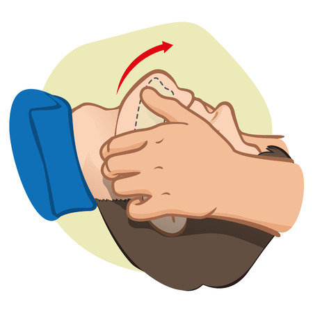 First Aid CPR resuscitation clearing breathing positioning. For resuscitation. Ideal for training materials catalogs and institutional