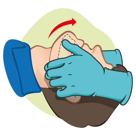 First Aid CPR resuscitation clearing breathing positioning with gloves. For resuscitation. Ideal for training materials catalogs and institutional