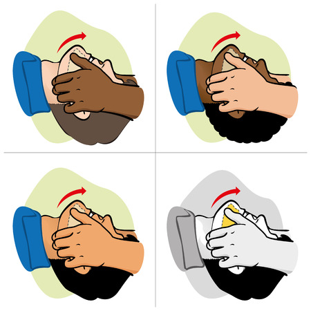 institutional: First Aid CPR resuscitation clearing breathing positioning etnais. For resuscitation. Ideal for training materials catalogs and institutional