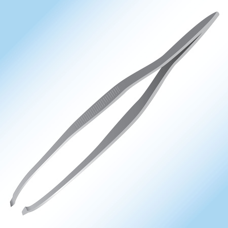 instrumentation: Illustration representing an object or utensil metal tweezers. Ideal for product catalog and institutional.