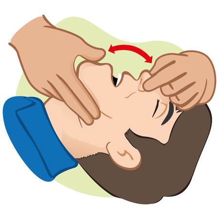 guides: Illustration First Aid person opening the mouth clearing airway. Ideal for catalogs and informative medical guides