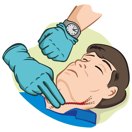 First Aid illustration person measuring pulse through the carotid artery with gloves. Ideal for catalogs and informative medical guides with clock