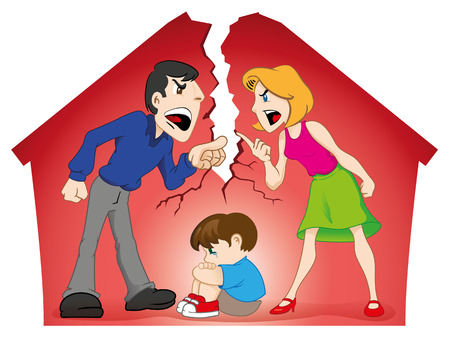 divorce: Illustration depicting a couple arguing in the presence of a child and destroying the home. Ideal for educational and institutional materials