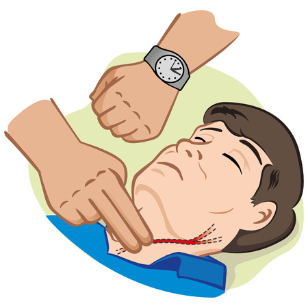 at first: Illustration First Aid person measuring pulse through the carotid artery. Illustration
