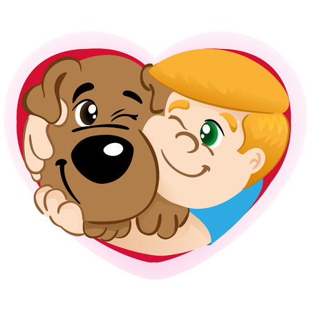 educational materials: Illustration representing the Person Child hugging a dog in a heart. Ideal for institutional and educational materials
