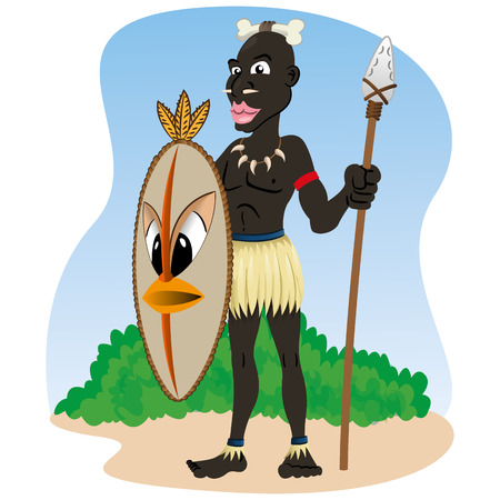 indium: Illustration representing African indigenous African culture warrior holding spear and shield
