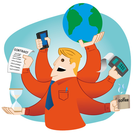 institutional: Illustration representing Person man with multiple arms doing multitasking. Ideal for advertising and institutional materials Illustration