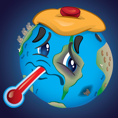Illustration representing Earth, bruised and saddened by pollution and abuse of man. Ideal for educational, environmental and institutional material.