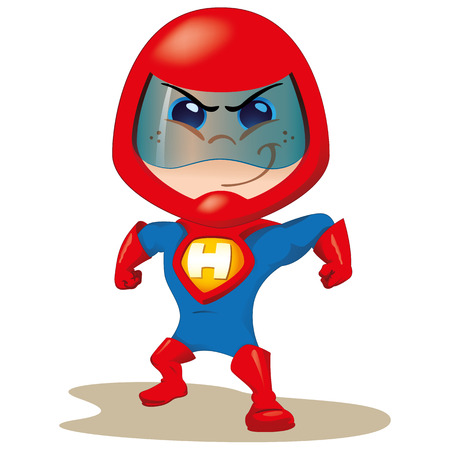 hero: One boy with a uniform super hero or space. Ideal for educational, instructional and institutional materials Illustration