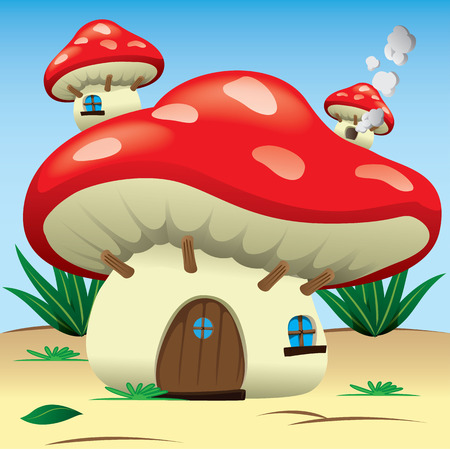 to make believe: Illustration is a fantasy nature landscape with a mushroom house. Ideal for childrens books and institutional materials