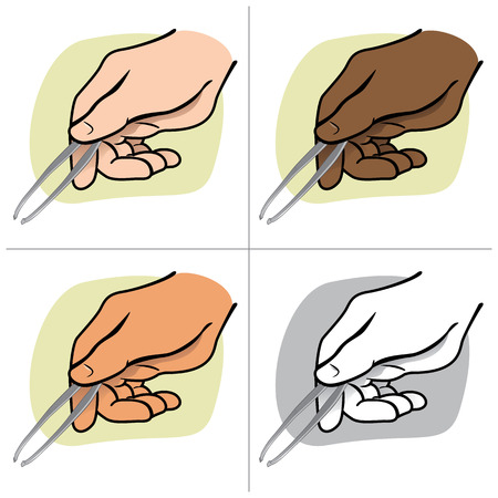 Illustration hand holding tweezers person, ethnicity. Ideal for catalogs, informative and institutional guides
