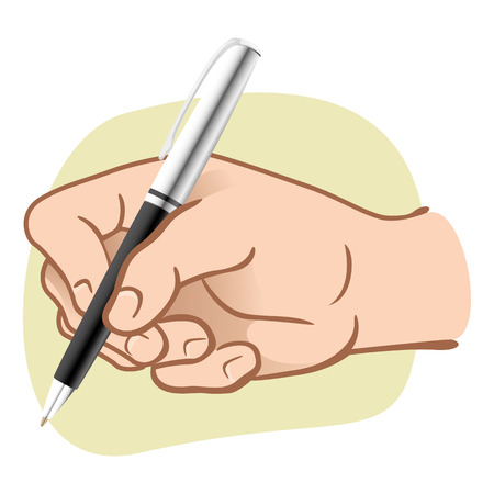 Illustration hand person holding a pen to write or draw. Ideal for catalogs, informative and institutional guides Ilustração