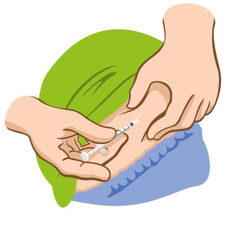diabetes: Ilustración de una persona que solicita la inyección en el abdomen y puede ser Tantu es la esclerosis trabamento o diabetes Vectores