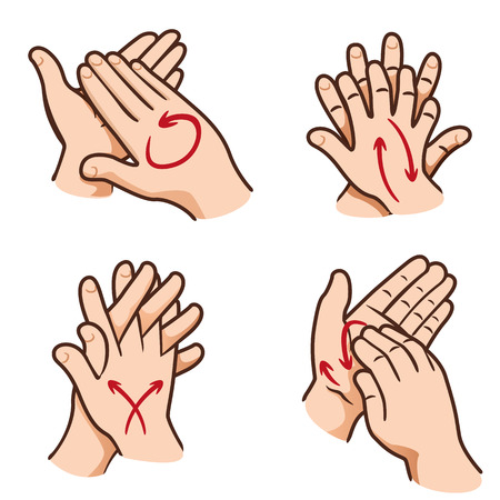 Illustration of a person washing hands in Their four steps, nail, palm, between fingers and the top