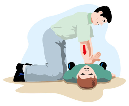 First Aid CPR resuscitation, massage compression of the rib cage chest resuscitation. Ideal for training materials, catalogs and institutional
