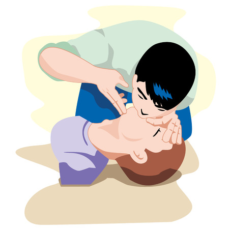 First Aid CPR resuscitation, clearing breaths, positioning. For resuscitation. Ideal for training materials, catalogs and institutional Vettoriali
