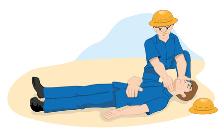 Illustration First Aid person measuring pulse through the carotid artery. Ideal for catalogs, informative and medical guides
