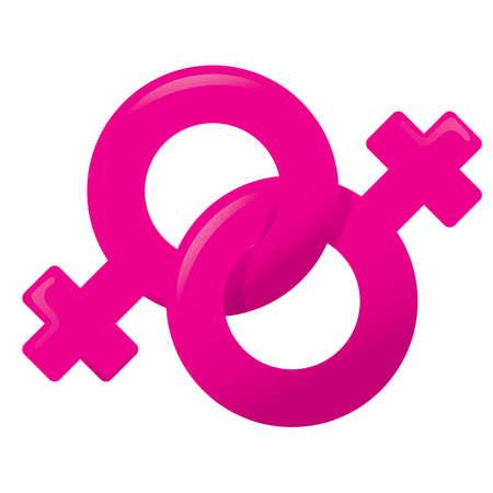 simbolo de la mujer: Ilustración de un icono símbolo vie, mujer, pareja homosexual femenina. Ideal para catálogos, informativos e institucionales materiales