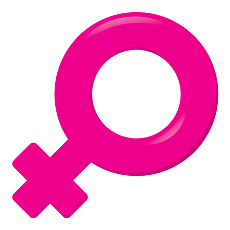 Illustration of an icon symbol female, woman. Ideal for catalogs, informative and institutional materials Stock Illustratie