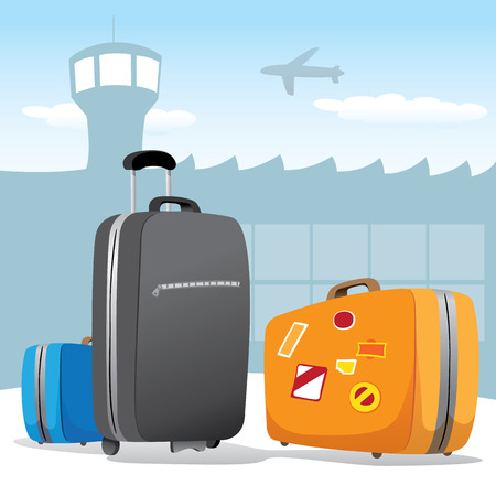 luggage airport: Illustration scenario set of bags and luggage at the airport. Ideal for catalogs, information and travel guides